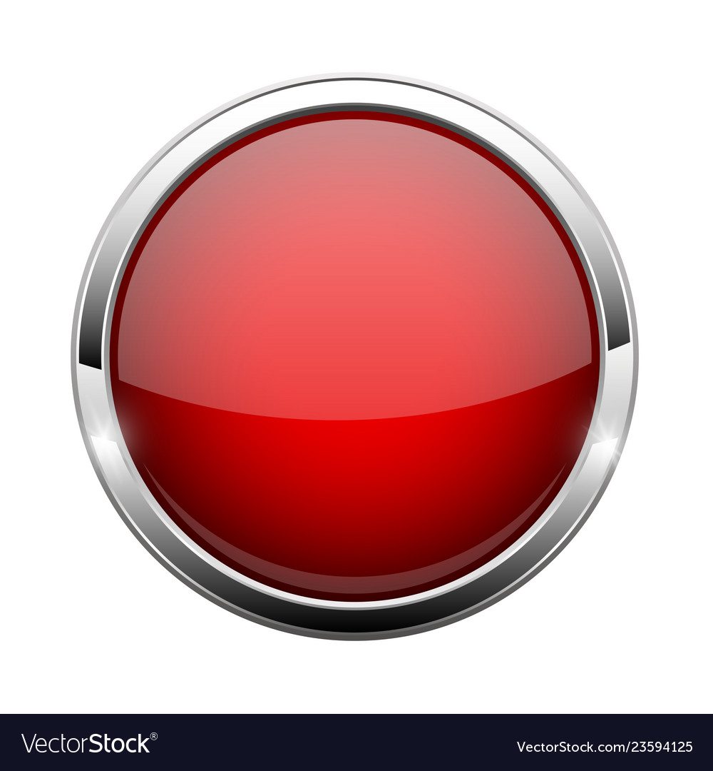 Red Glass Button Shiny Round 3d Web Icon Vector Image