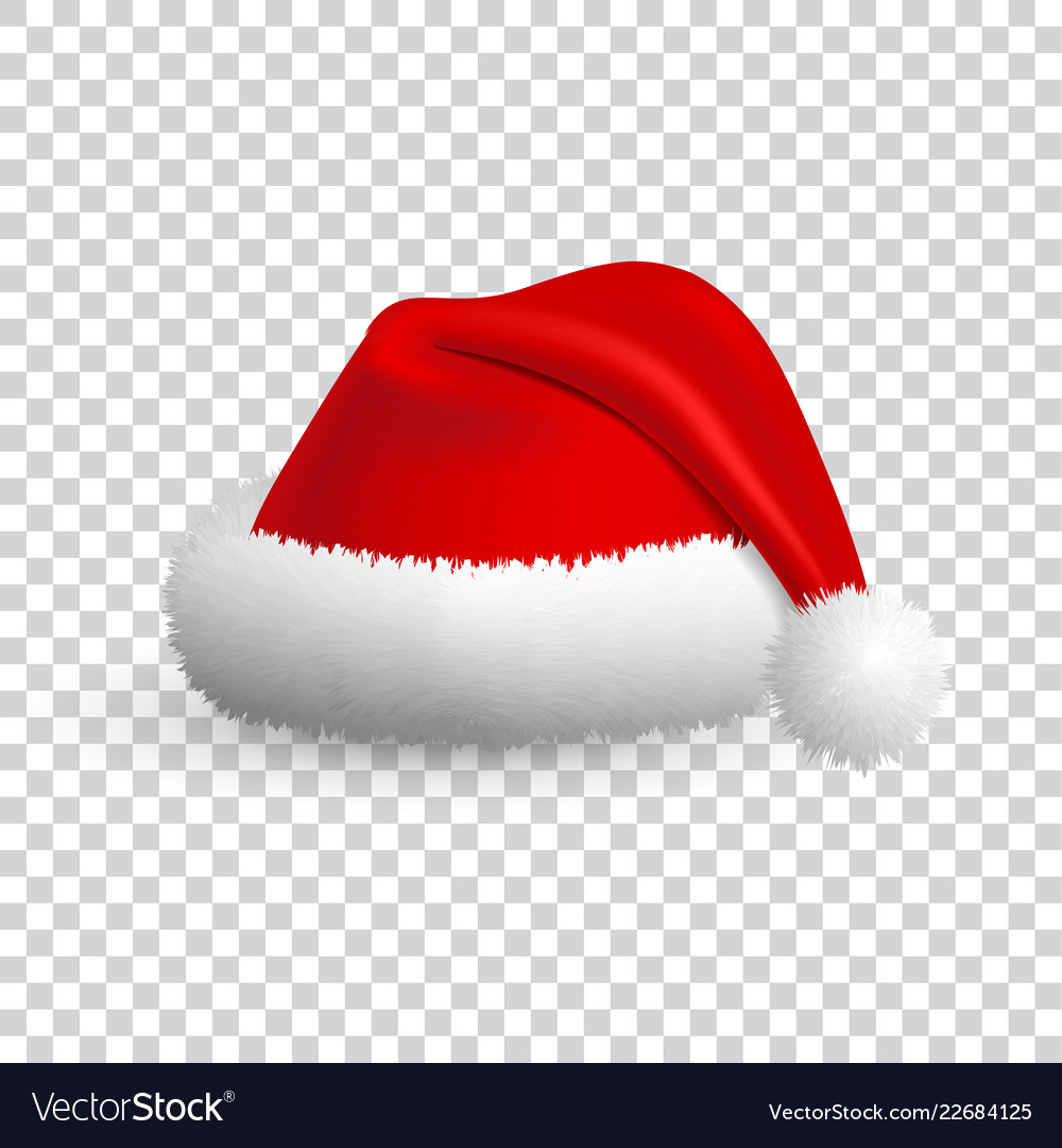 Transparent Christmas Hat.Santa Claus Hat Isolated On Transparent Background