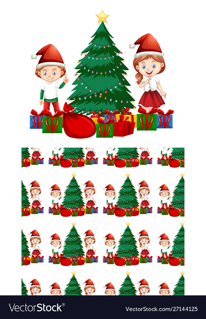 Seamless background design with kids and