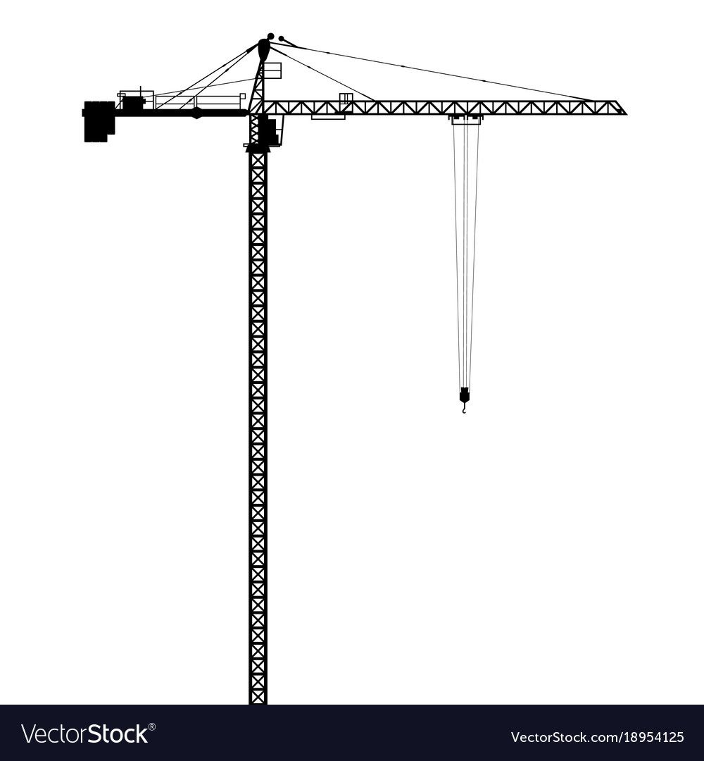 Silhouettes of crane on building