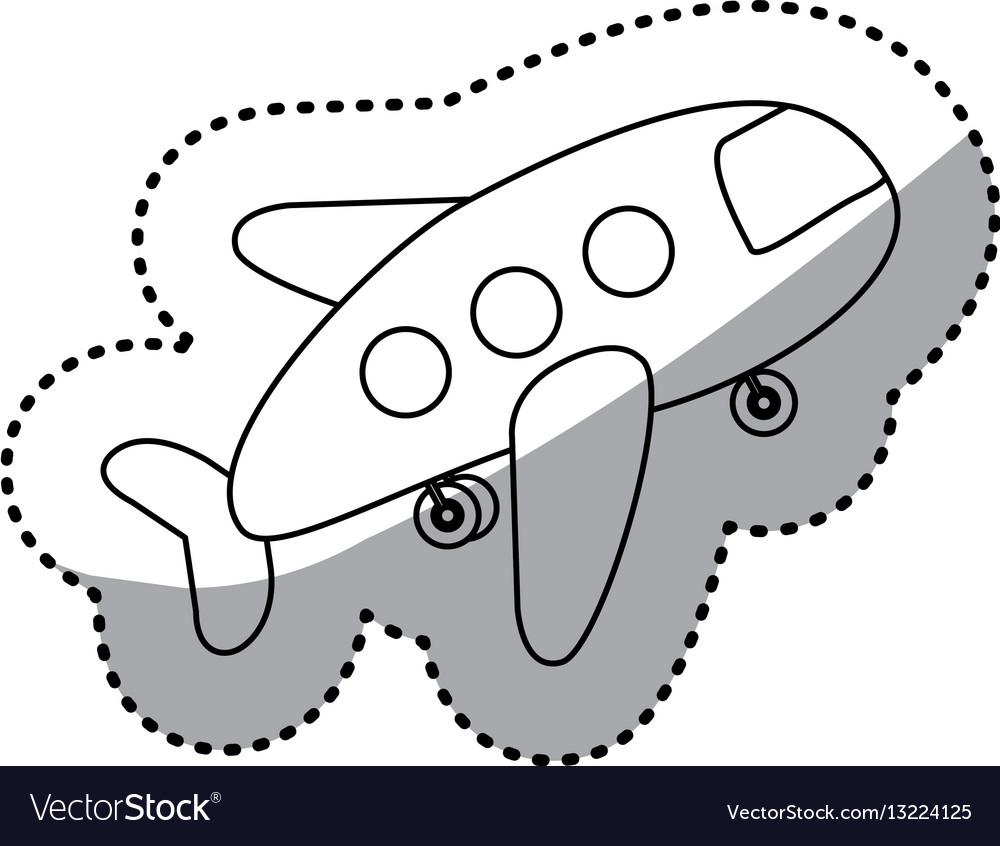 Sticker silhouette cartoon jet airplane transport vector image