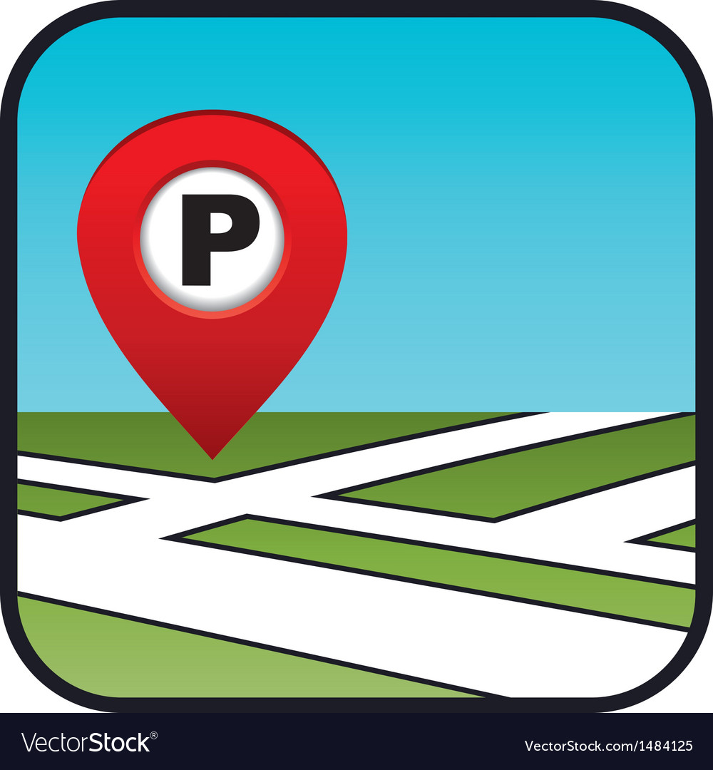 Street map icon with the pointer parking on icon staff, icon transportation, icon services, icon police, icon schedule, icon calendar, icon employment, icon procurement, icon history, icon contact, icon home, icon medical, icon weather, icon meals,