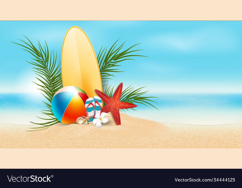 Summer sale text and beach holidays elements
