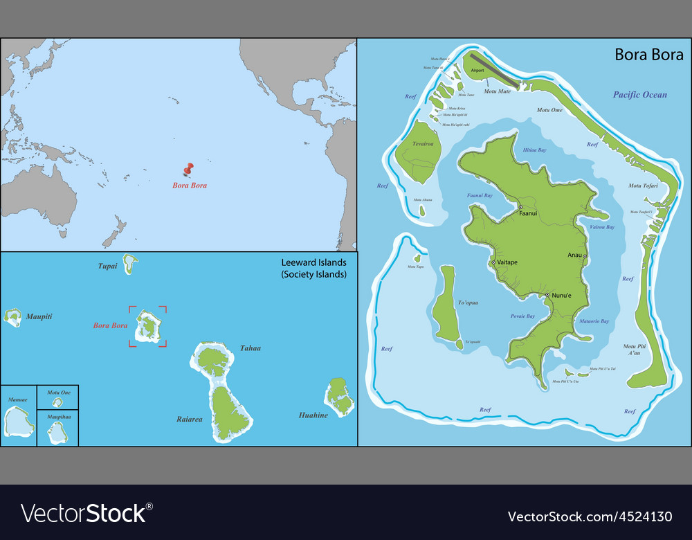Bora bora map Royalty Free Vector Image - VectorStock