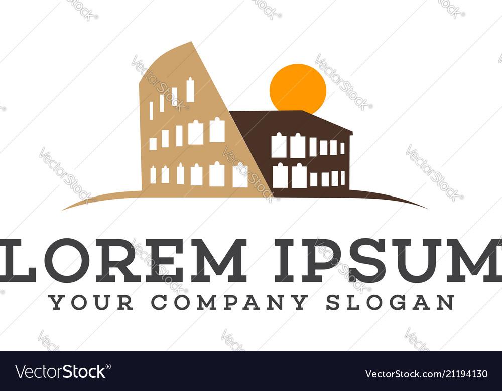 Building rome logo design concept template vector image