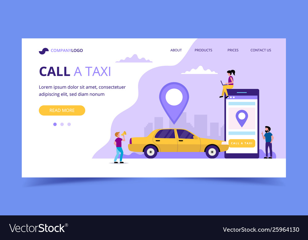 Call a taxi landing page concept