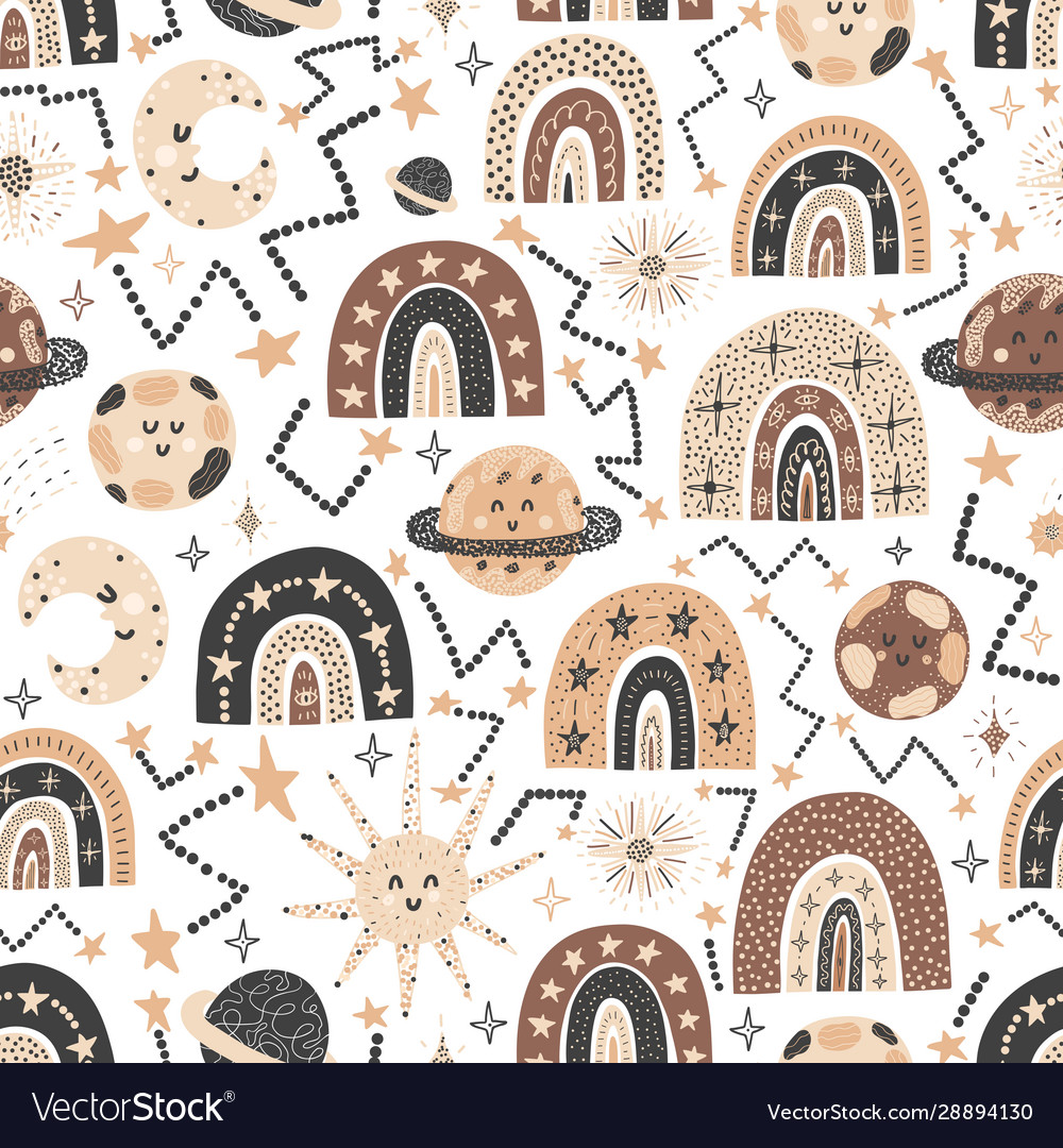 Cosmic seamless pattern with cute rainbows and