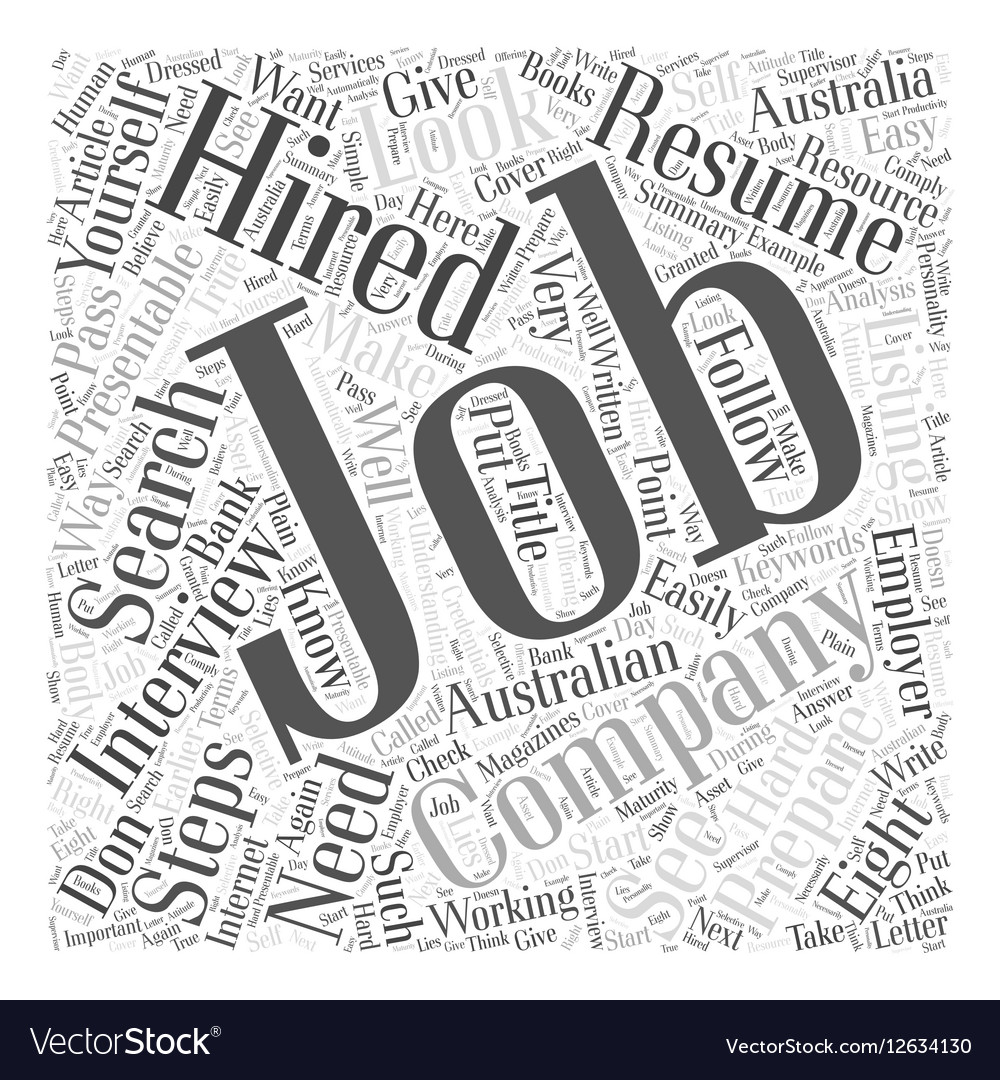eight steps on how to get hired word cloud concept vector image