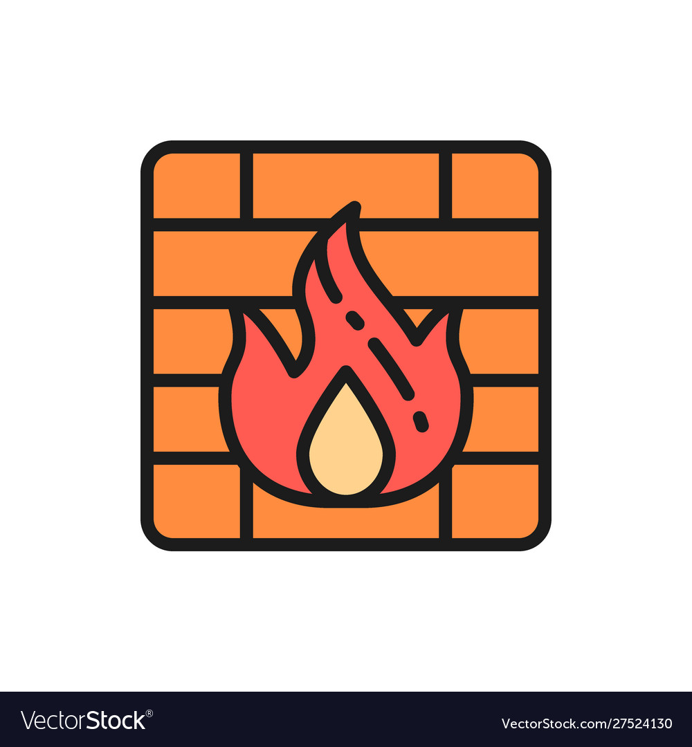 Firewall flat color line icon isolated on white