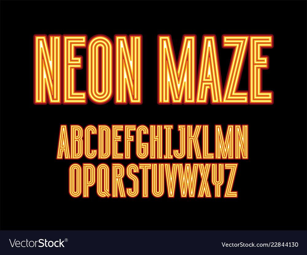 Futuristic maze alphabet letters