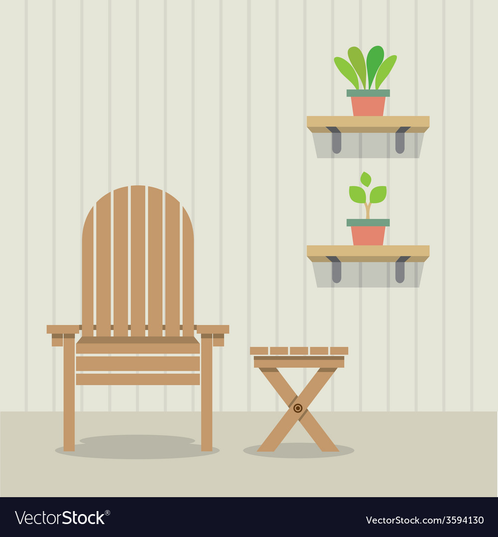 Pleasing Garden Chair And Table With Pot Plants On Wooden Caraccident5 Cool Chair Designs And Ideas Caraccident5Info