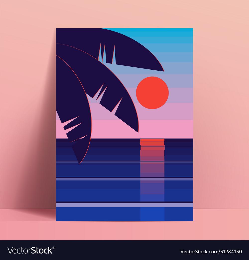 Minimalistic summer poster design template