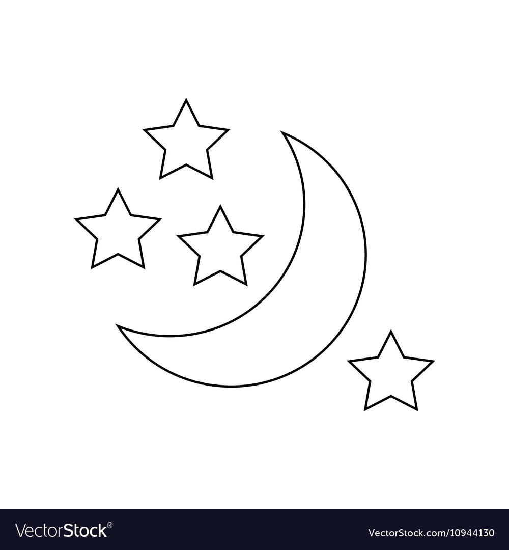 Moon And Stars Icon Outline Style Royalty Free Vector Image All black outline black filled multicolor. vectorstock