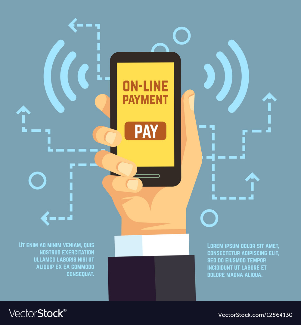Online Payment Transfer Mobile Pay With Vector Image