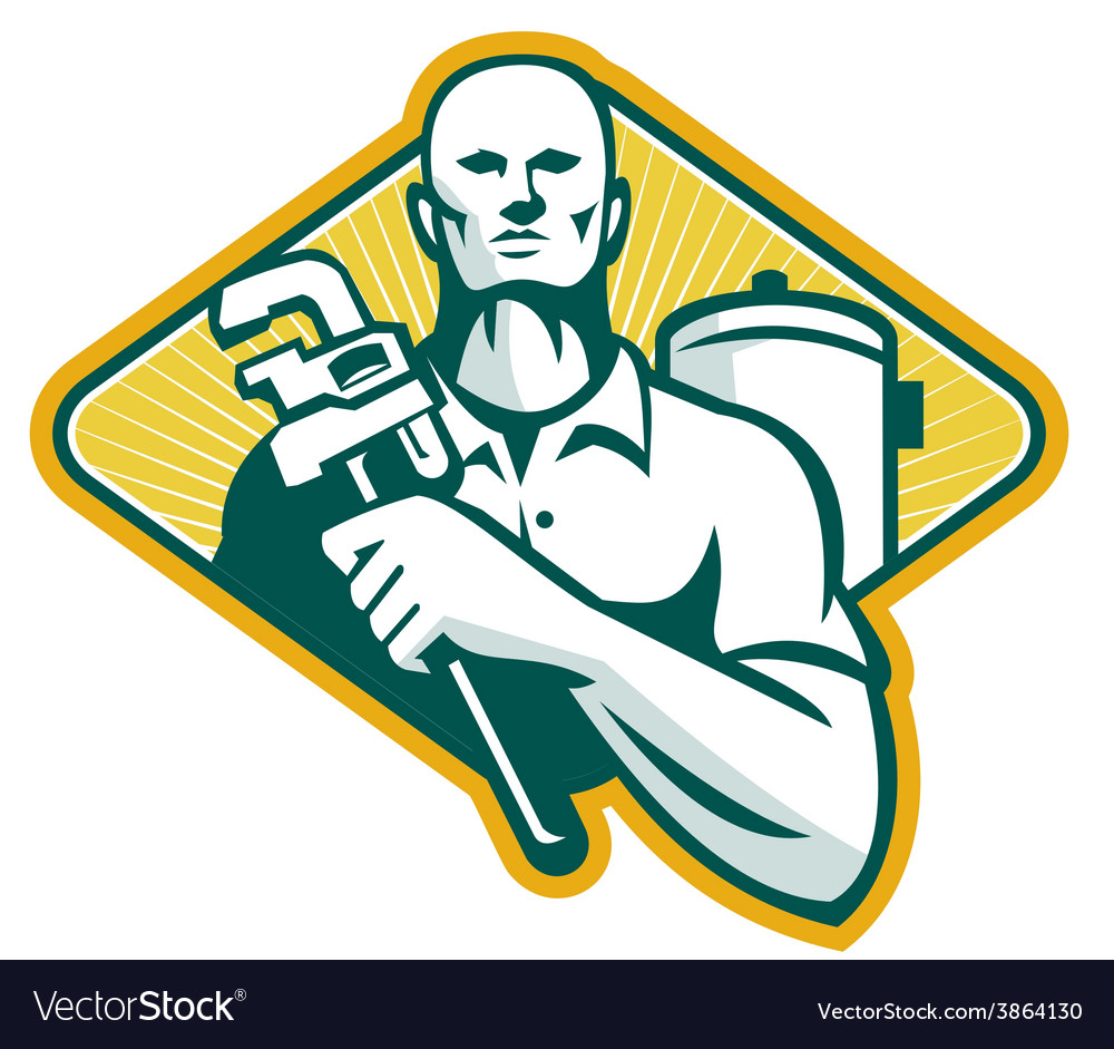 Plumber with Wrench and Hot Water Cylinder Retro Vector Image