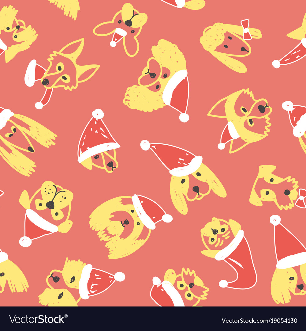 Seamless pattern with yellow dogs in santa hat