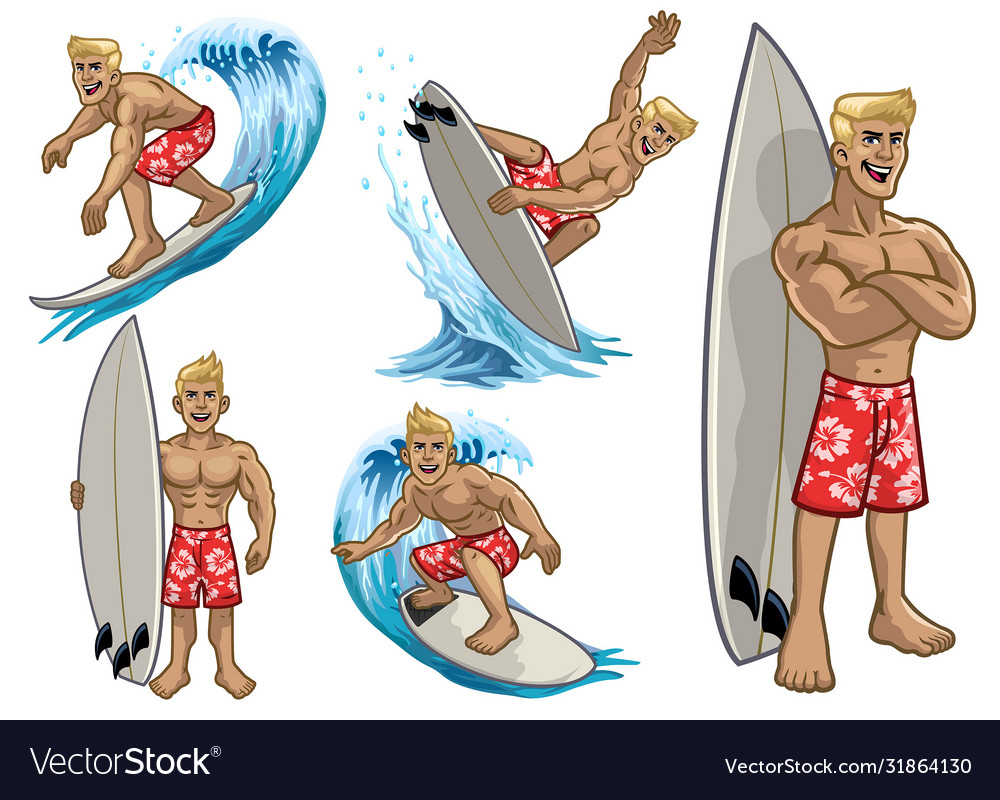 Set cartoon muscle white surfing man