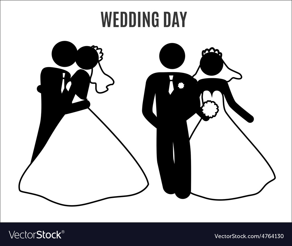 Stick figure wedding couples vector image