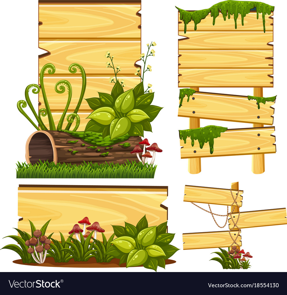 Wooden sign template with moss and mushroom Vector Image