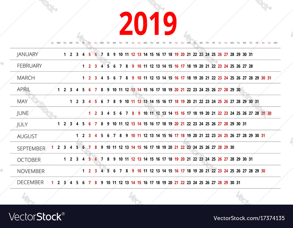 2019 calendar print template week starts sunday