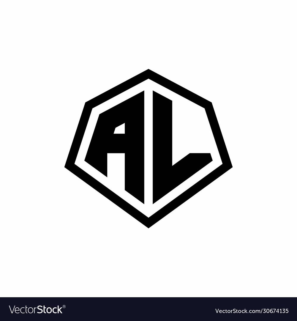 Al Monogram Logo With Hexagon Shape And Line Vector Image