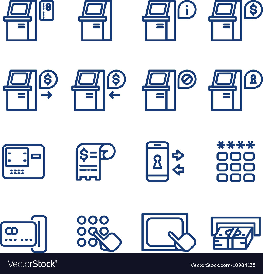 Atm terminal thin line icons set