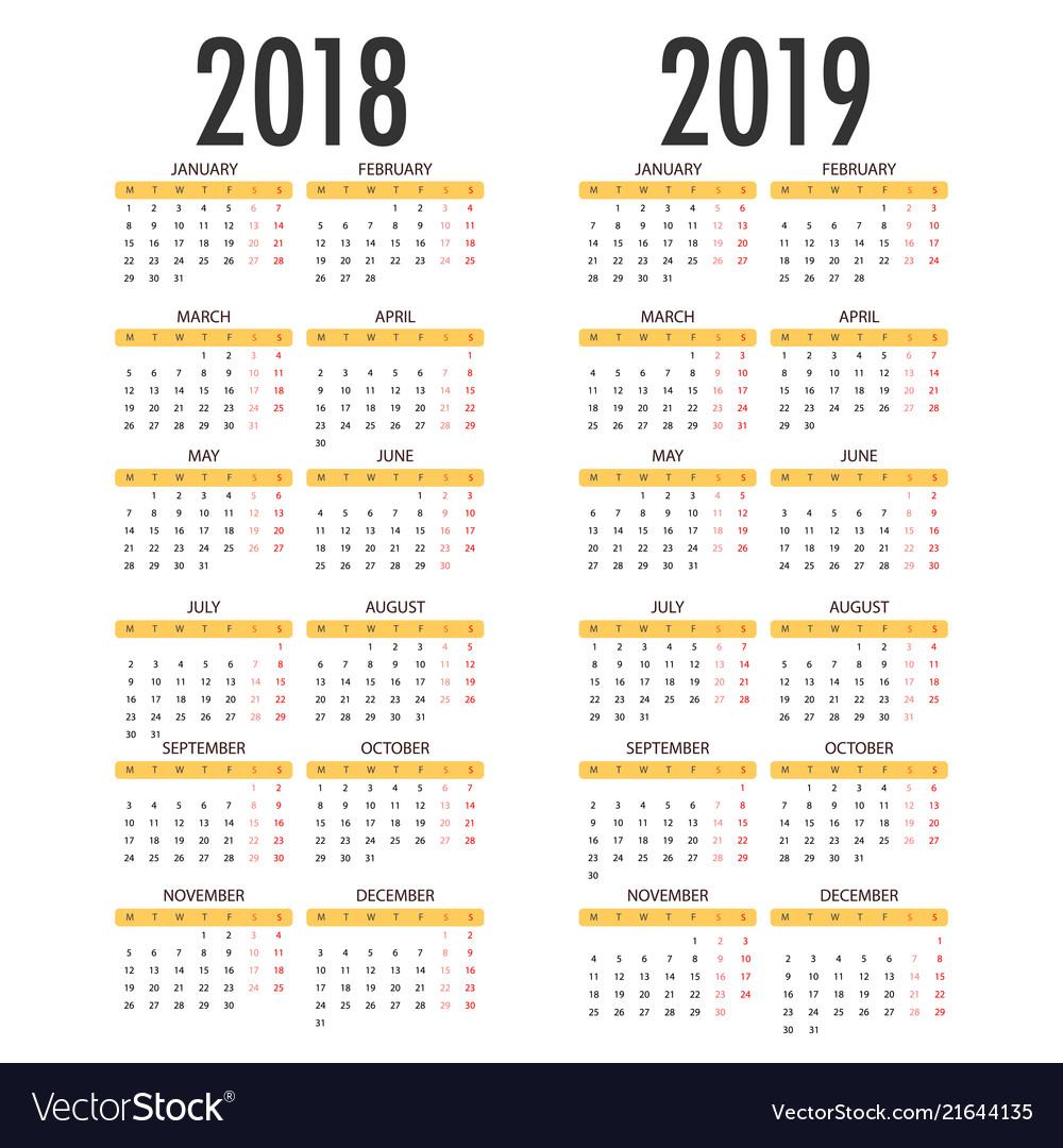 Calendar for 2018 2019 on white background