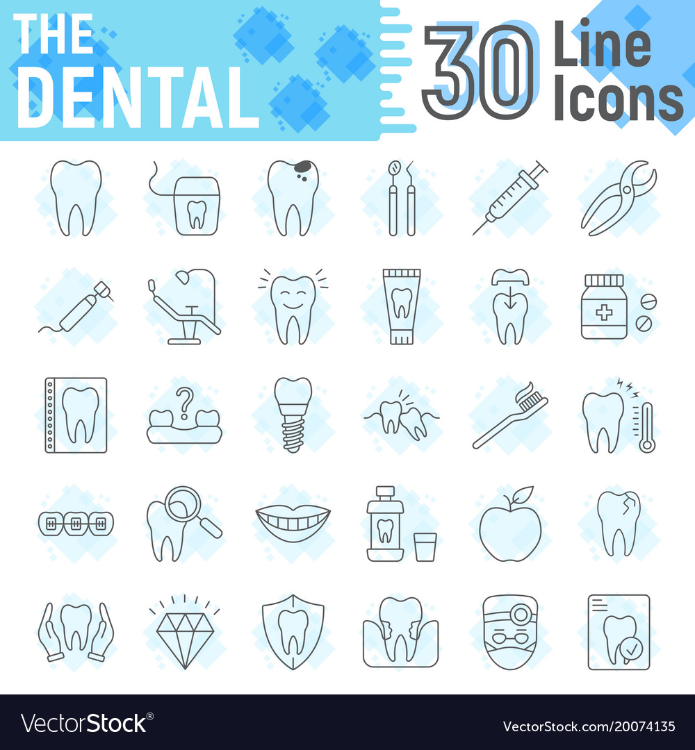 Dental thin line icon set stomatology symbols
