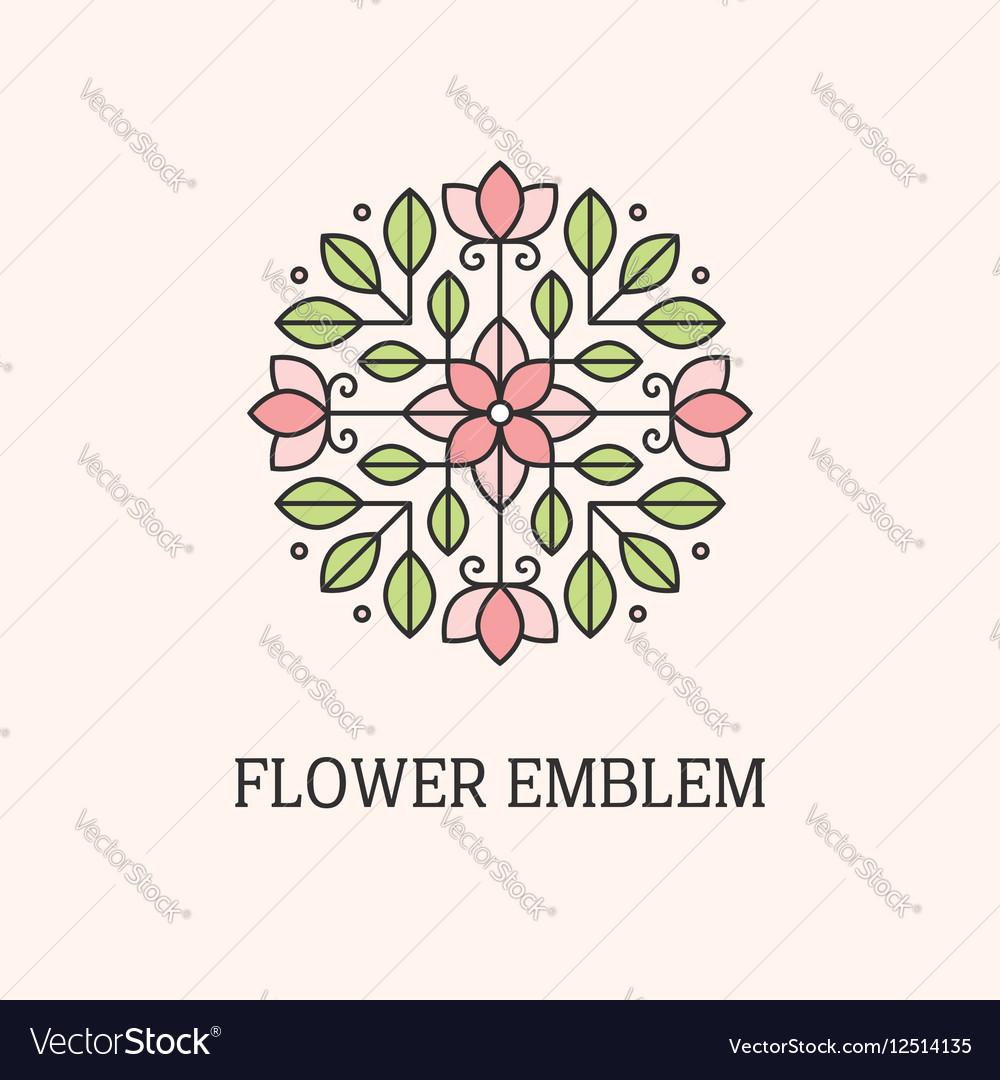 Flower linear emblem