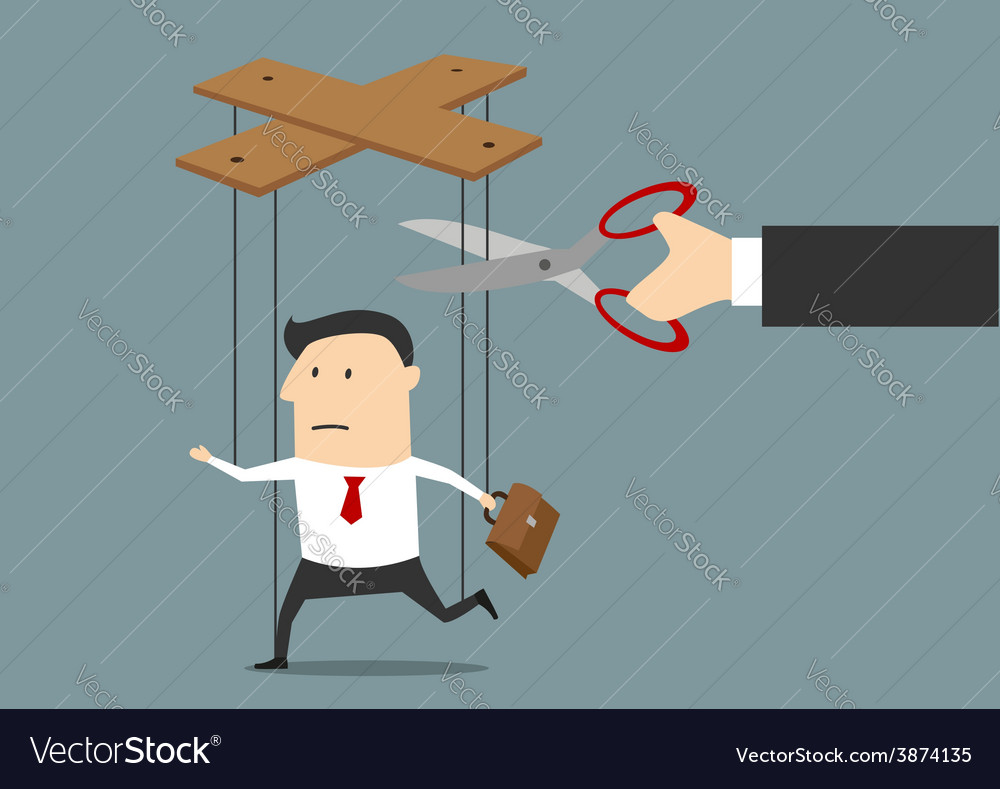 Hand cutting strings of marionette businessman