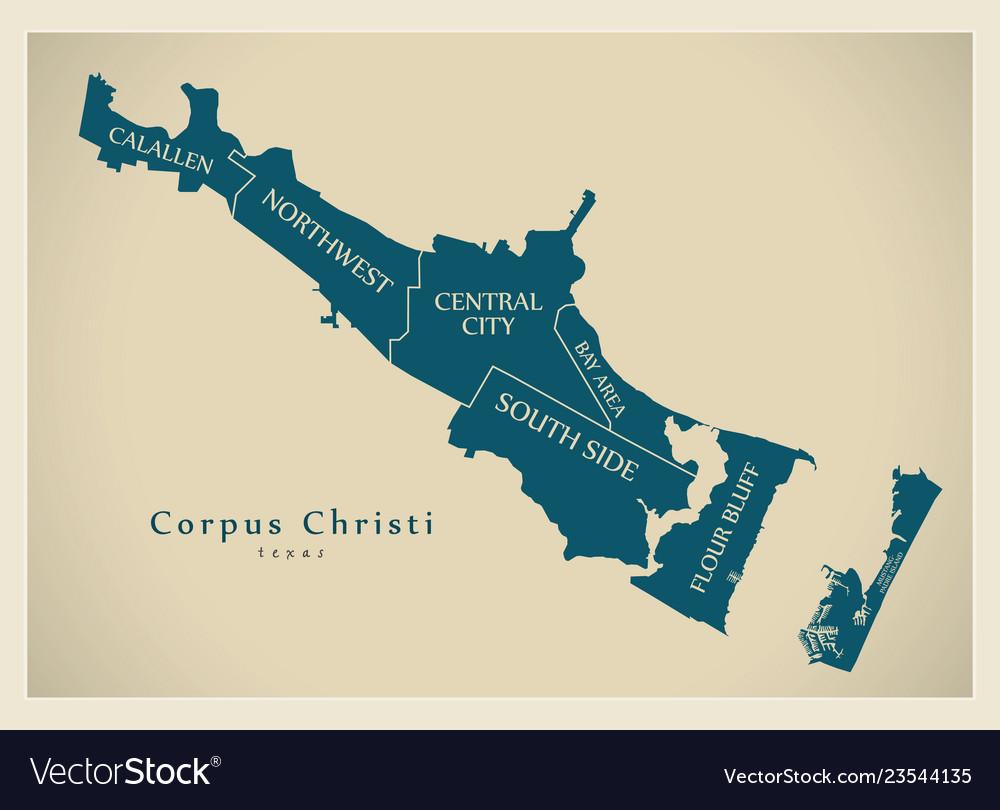 City Map Of Texas.Modern City Map Corpus Christi Texas City Of Vector Image