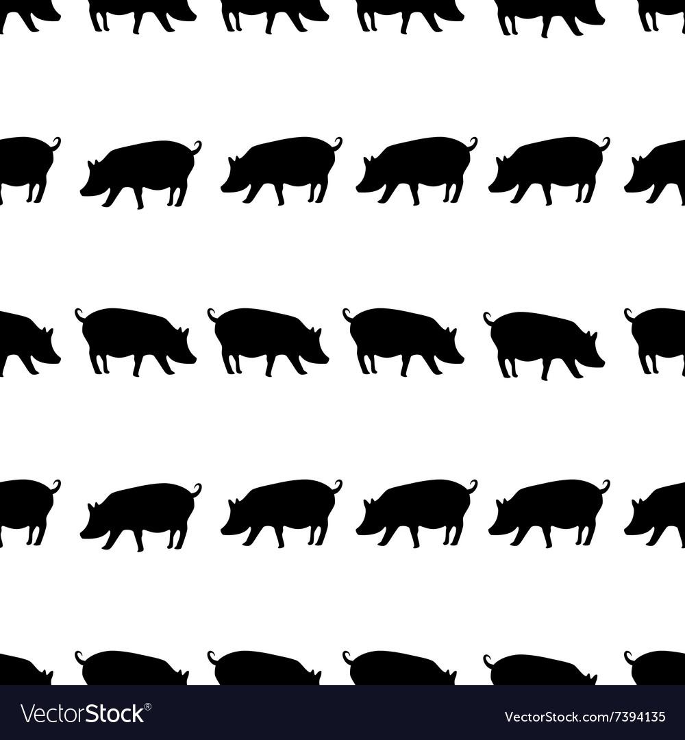 Pig black shadows silhouette in lines pattern