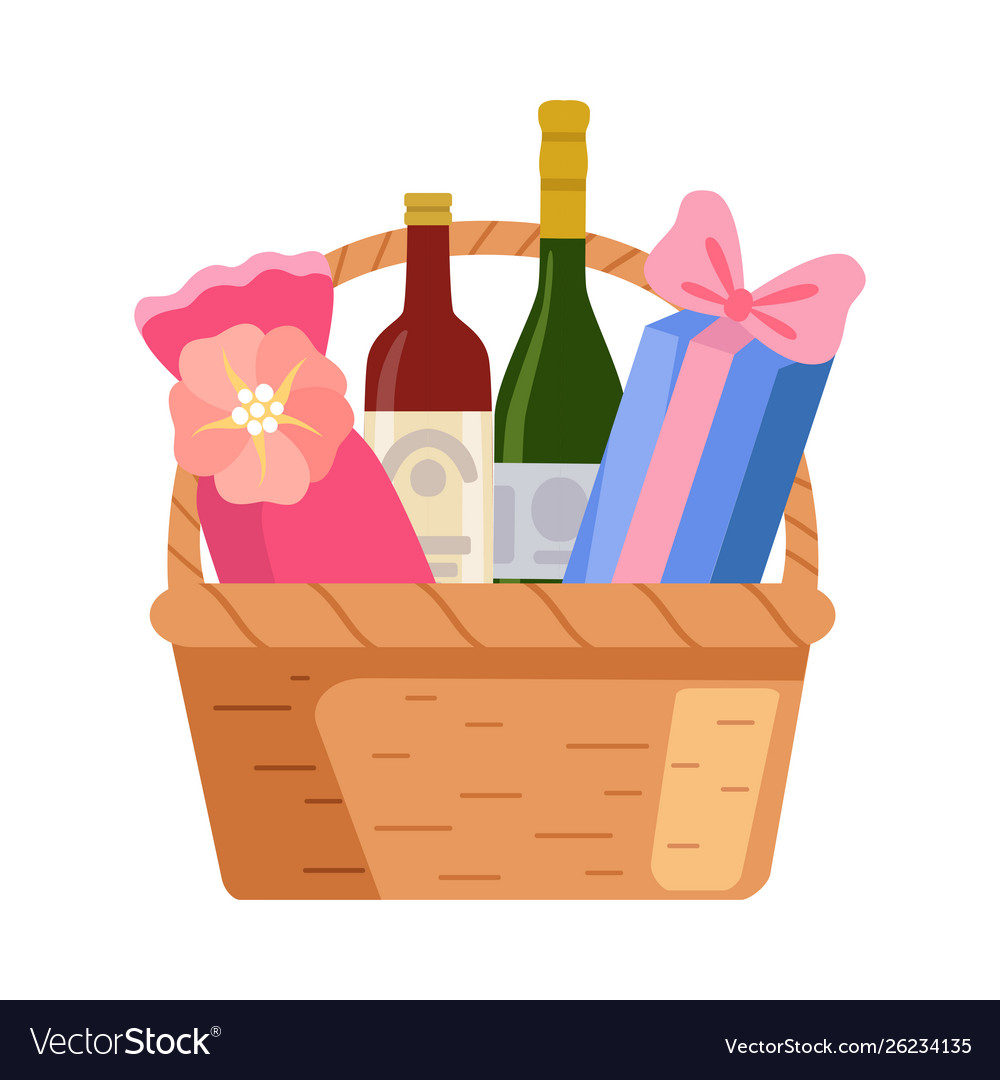 Present basket with alcohol bottle and gifts