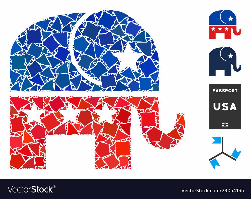 Republican elephant mosaic icon uneven pieces