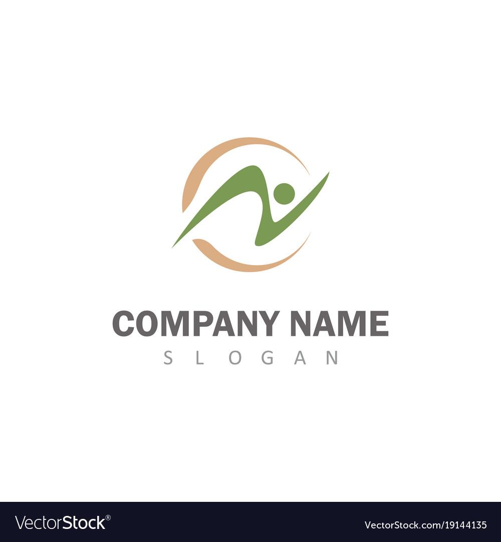 Round green letter n logo vector image