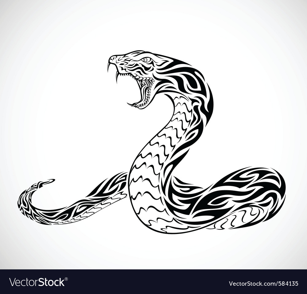 Snake tribal tattoo vector image