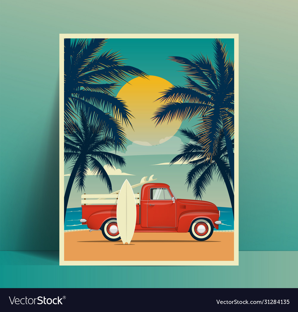 Summer travel poster design with vintage surfing