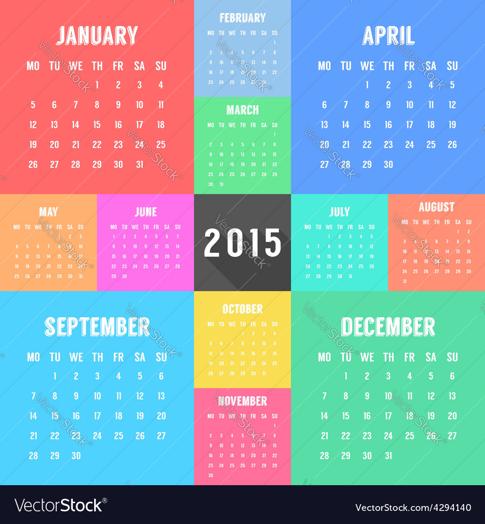 Calendar of 2015 year with different colored