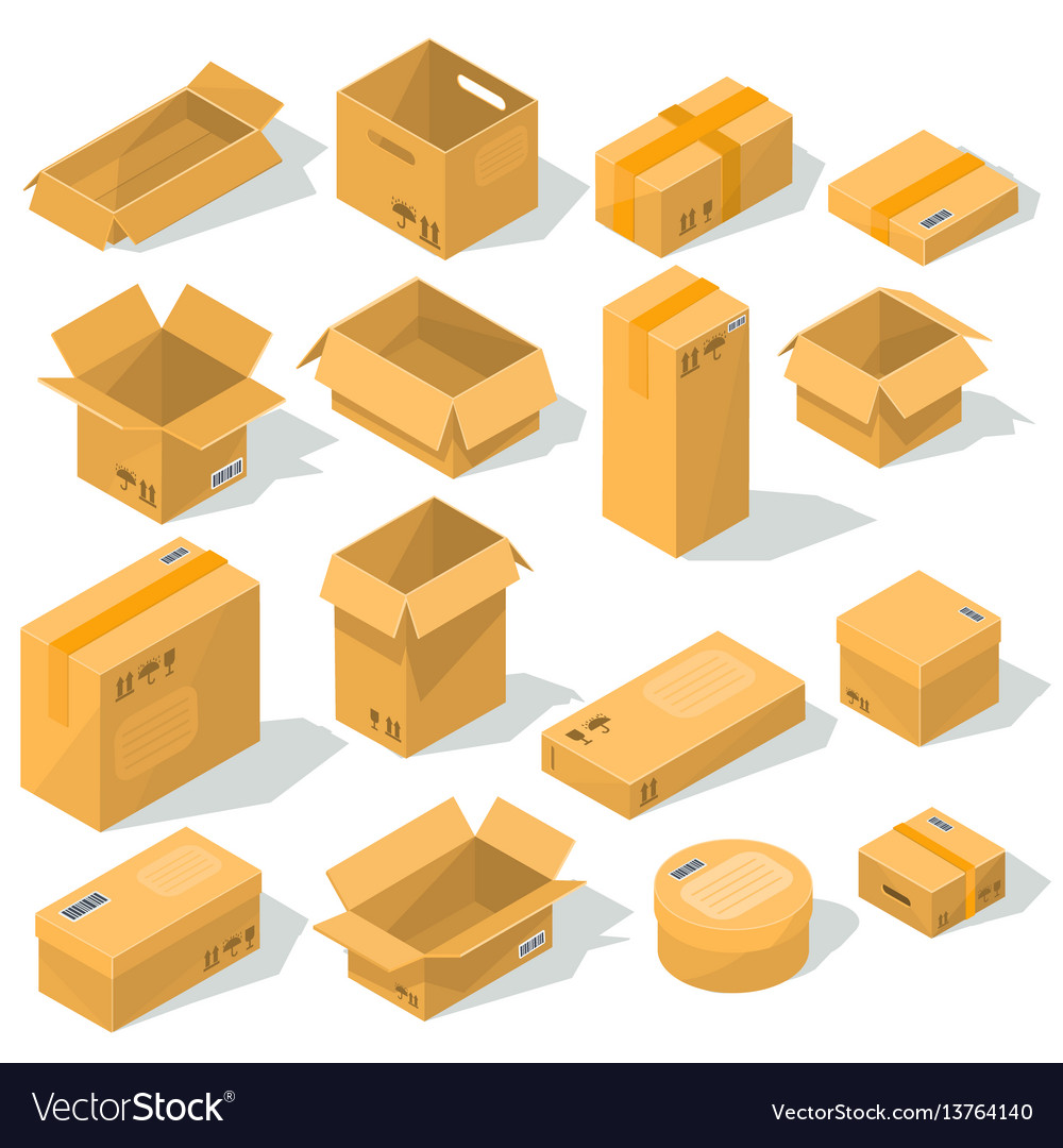Cardboard boxes of various shapes and sizes