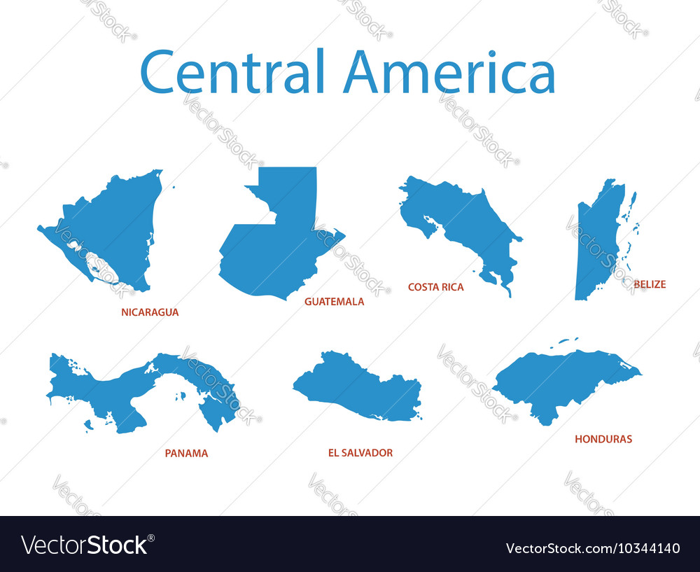 Cenral America Map.Central America Maps Of Territories Royalty Free Vector