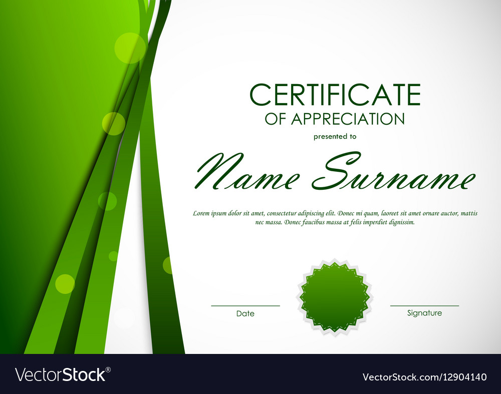 Certificate of appreciation template royalty free vector certificate of appreciation template vector image yadclub Image collections
