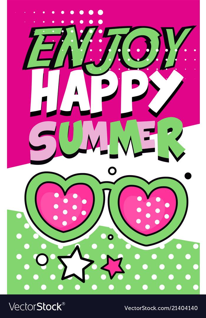 Enjoy happy summer banner bright retro pop art