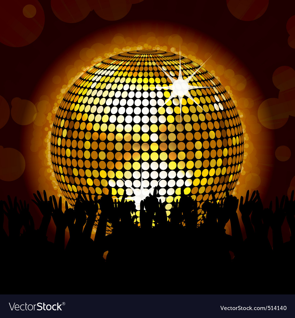 Glowing disco ball and crowd