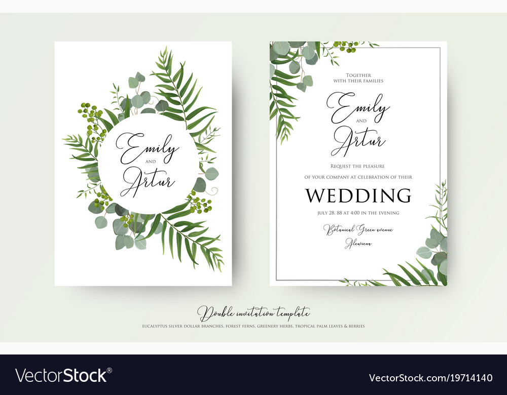 Invitation Cards For Wedding: Greenery Floral Wedding Invitation Card Design Vector Image