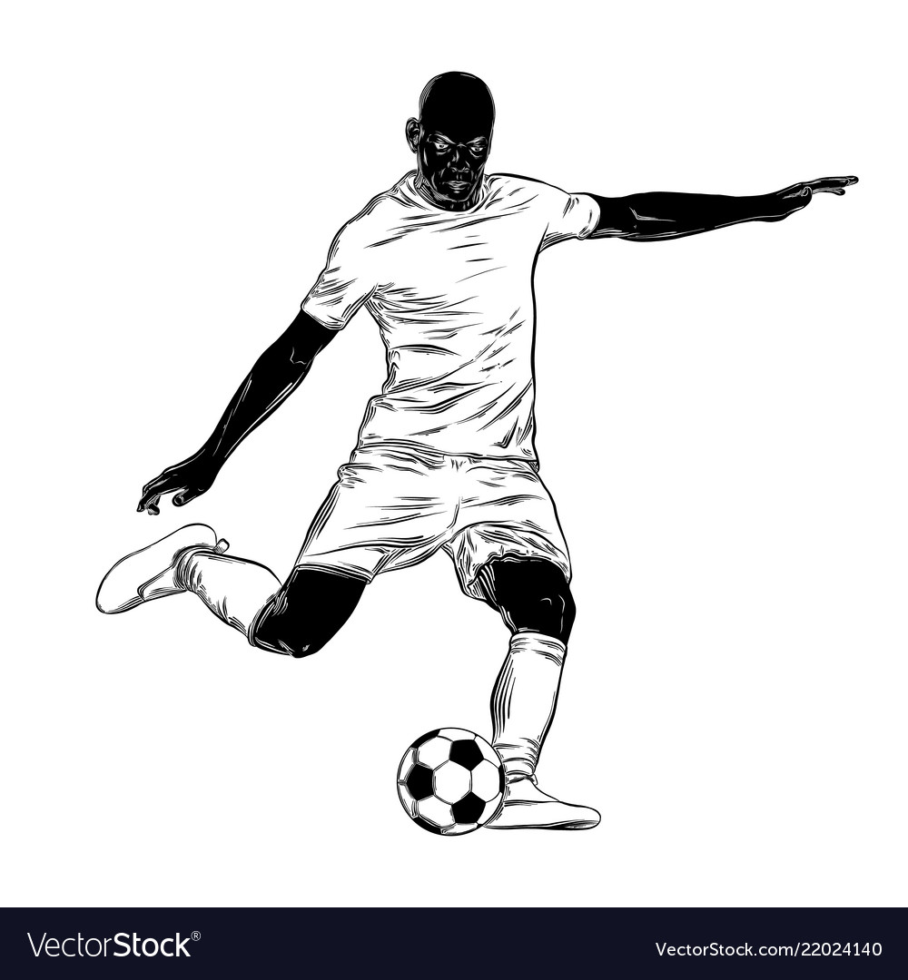 Hand drawn sketch of footballer in black isolated
