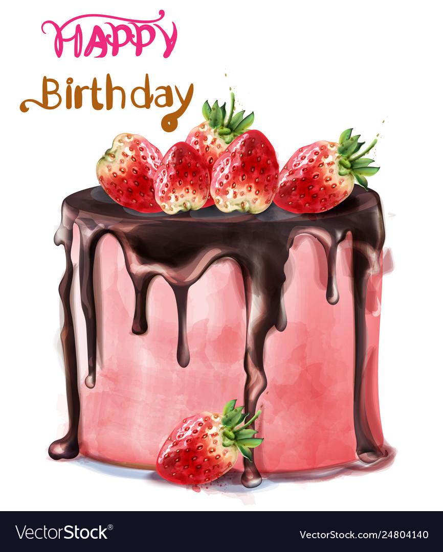 Sensational Happy Birthday Delicious Strawberry Cake Vector Image Funny Birthday Cards Online Elaedamsfinfo