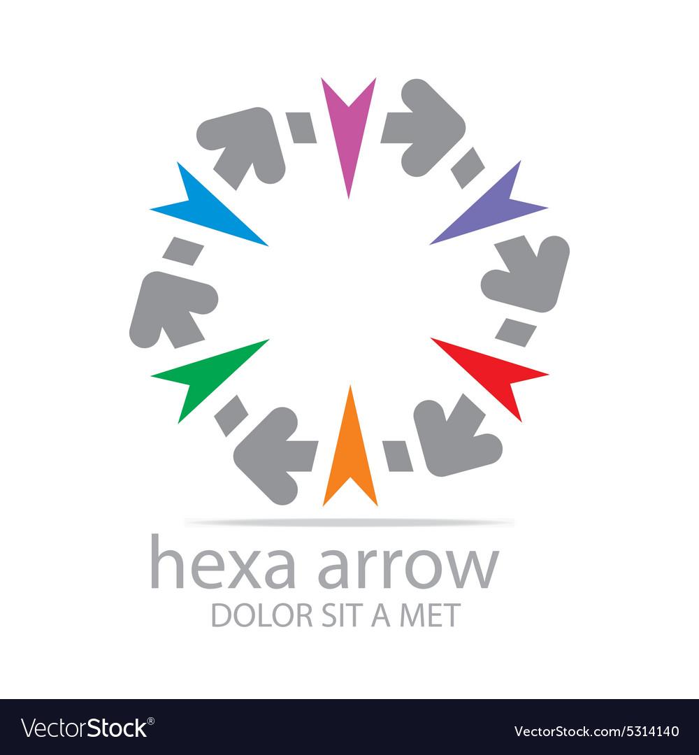 Hexa Arrow Design Icon Symbol Star Royalty Free Vector Image