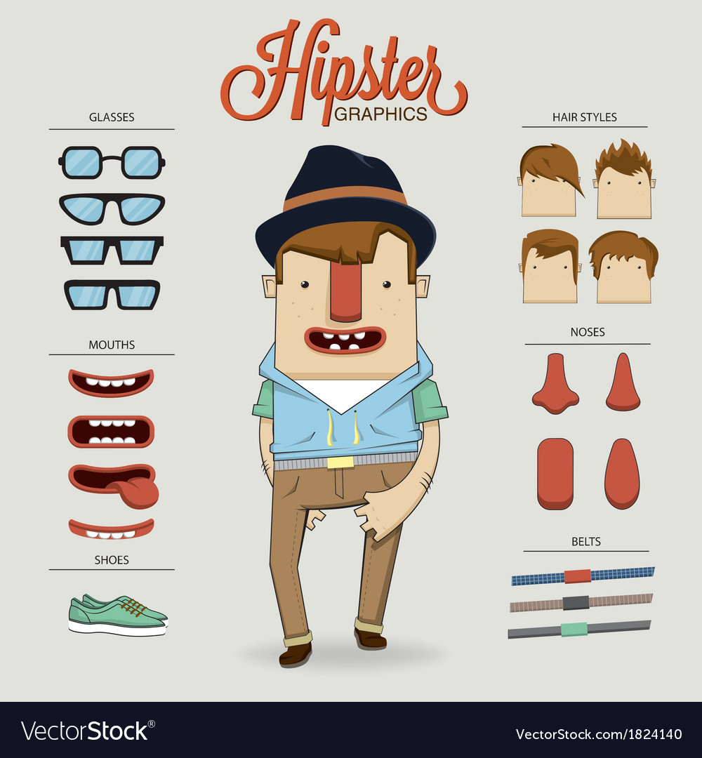 Hipster character with character elements and