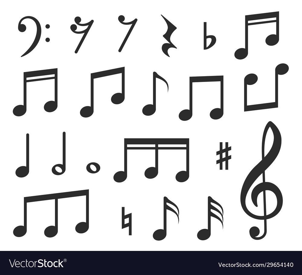 Music notes musical melody black note icons