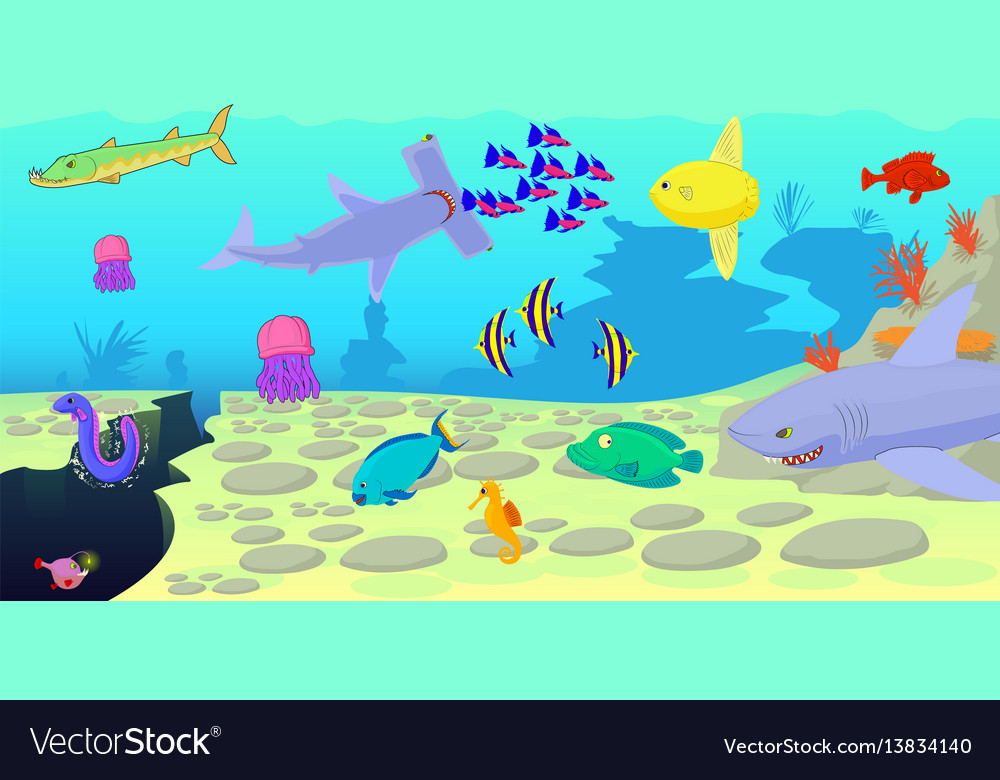 ocean fish scene horizontal banner cartoon style vector image rh vectorstock com Cartoon Kitchen Scene Cartoon Beach Scene